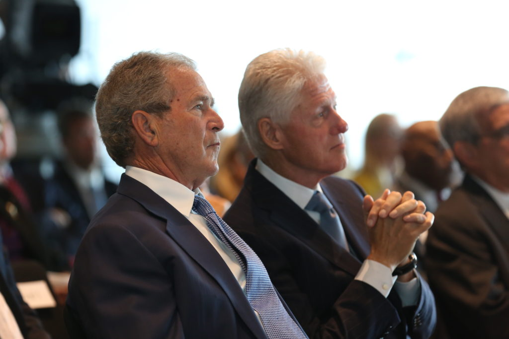 President George W. Bush and President Bill Clinton at the Presidential Leadership Scholars program launch in 2014.